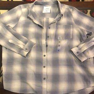 NWT size xxl button down shirt collar plaid